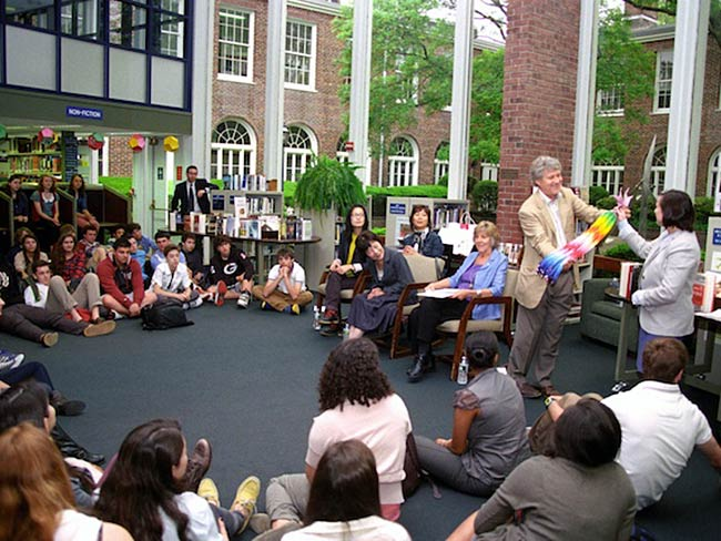 Robert Croonquist presents a gift of paper cranes from the Hiroshima Peace Culture Foundation, May, 2013