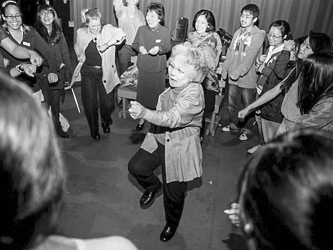 "Shigeko Sasamori demonstrates the Happy Dance. ""Why be angry? It is happy people who will bring peace to the world."" May, 2012"