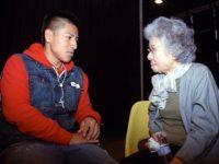 Shigeko Sasamori and student share a moment, May, 2012