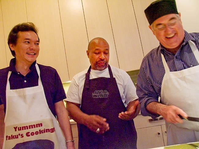 Taku Nishimai, McDonald Layne and Steve Smith, the evening's master chefs, May, 2011