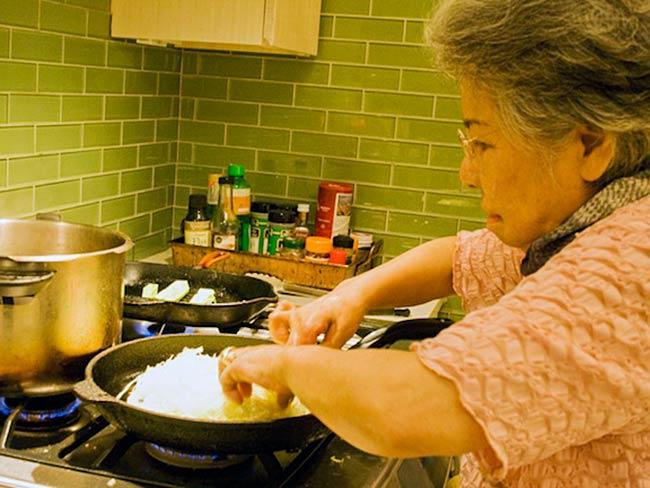 Shigeko Sasamori takes a turn as chef, May, 2011