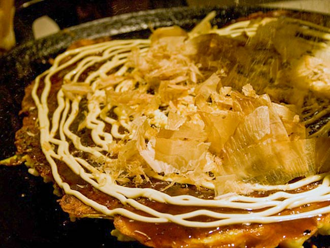 Okonomiyaki topped with bonito flakes, May, 2011