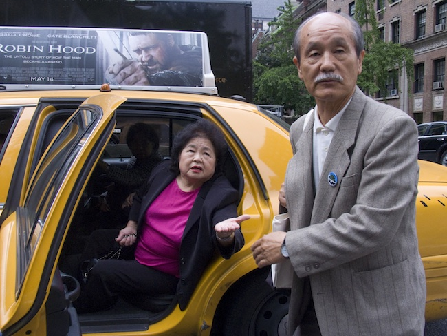 Going from venue to venue, often three or four a day, is not easy. Setsuko Thurlow and Hirosi Iso, 2010