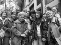 Shigeko Sasamori poses with students in front of Urasenke Chanoyu Center, May, 2012