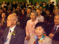 Visiting hibakusha heard music and talks