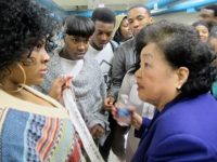 Setsuko Thurlow with students from Aspirations High School