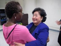 Setsuko Thurlow with faculty member, Aspirations High School