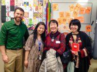 Booker T Japanese teachers Joshua New and Chigusa Izumi with Toshiko Tanaka and Marie Cochrane