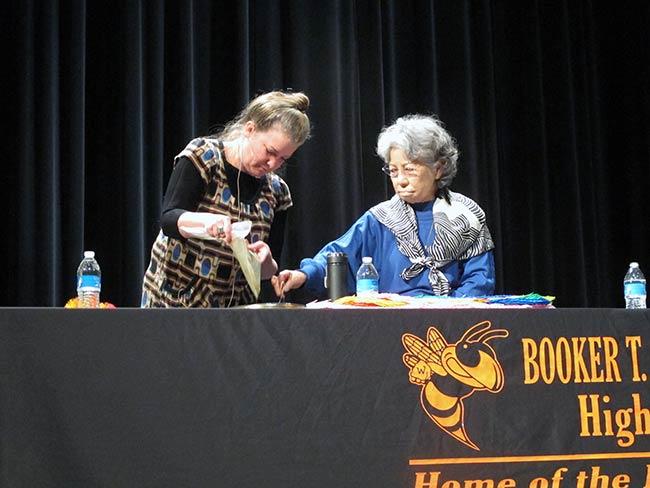 Kathleen Sullivan and Shigeko Sasamori doing the BB demonstration