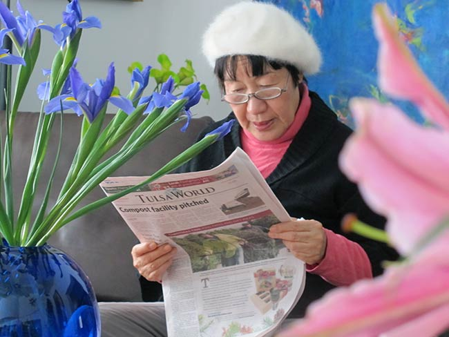 Toshiko Tanaka reads of Hibakusha Stories in the Tulsa World