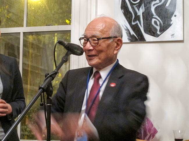Terumi Tanaka, Secretary General of Hidankyo, on his 80th birthday