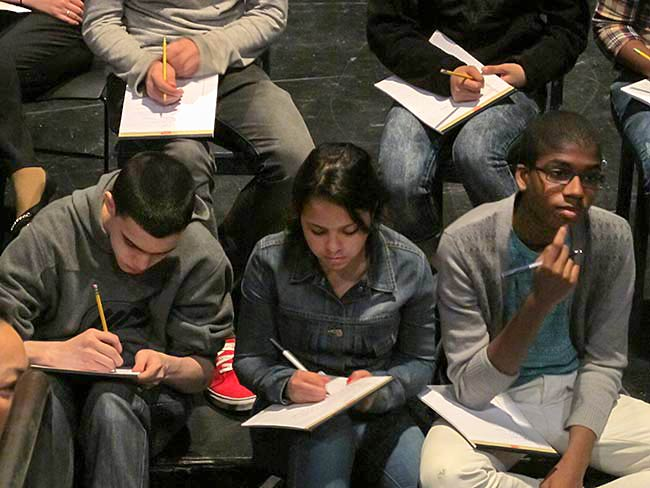 Students writing monologues