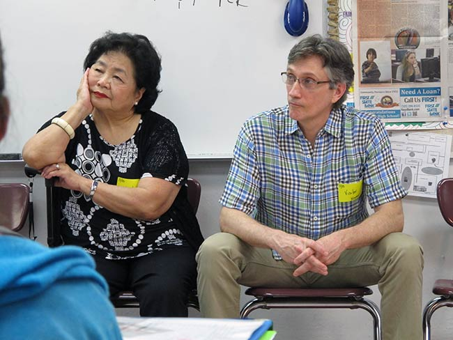 Setsuko Thurlow and Clifton Daniel at Key West High School