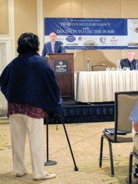Setsuko Thurlow addresses Samuel Walker at the Truman Symposium