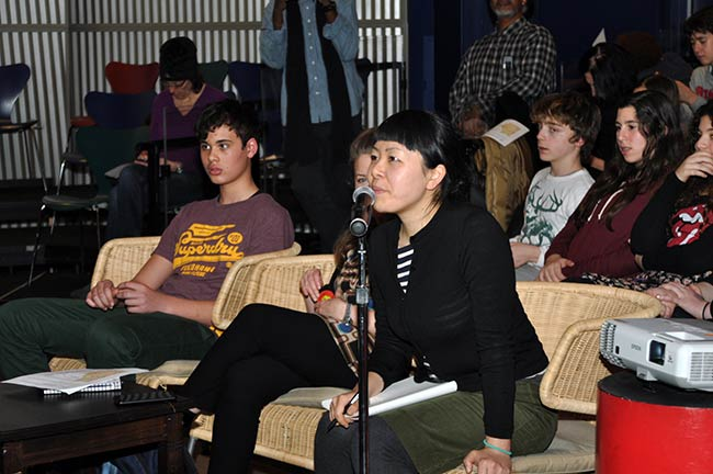 Yuko Tonohira interpreting at Calhoun School