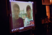 Evacuated children talking via Skype to Calhoun School