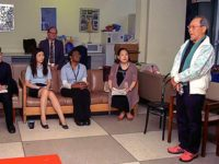 Jong-keun Lee speaks to interns and guides with Randy Rydell and Soo-Heun Kim of UNODA