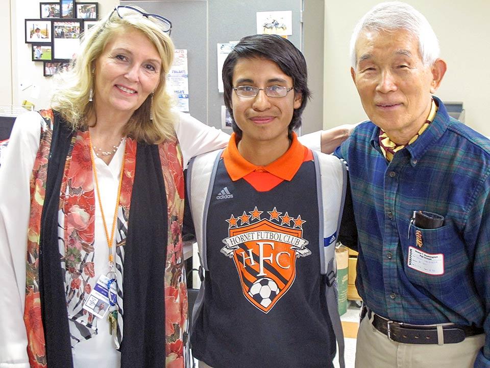 Cindy Gharibvand and student with Yasuaki Yamashita
