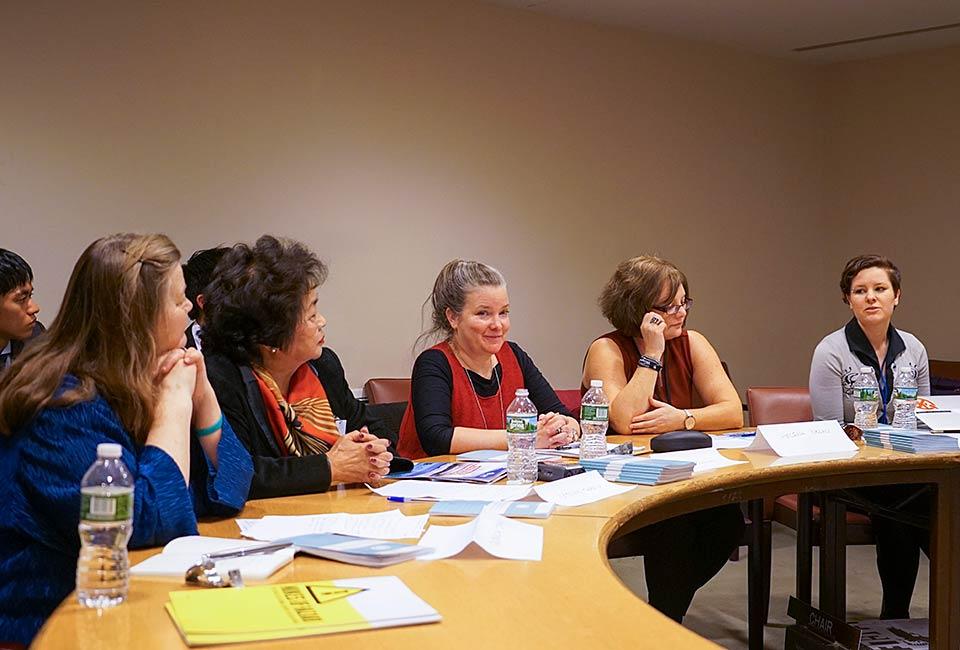 Dr. Rebecca Johnson, Setsuko Thurlow, Dr. Kathleen Sullivan, Helena Nolan (Ireland), Ray Acheson