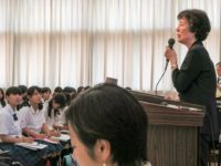 Reiko Yamada speaking at her alma mater