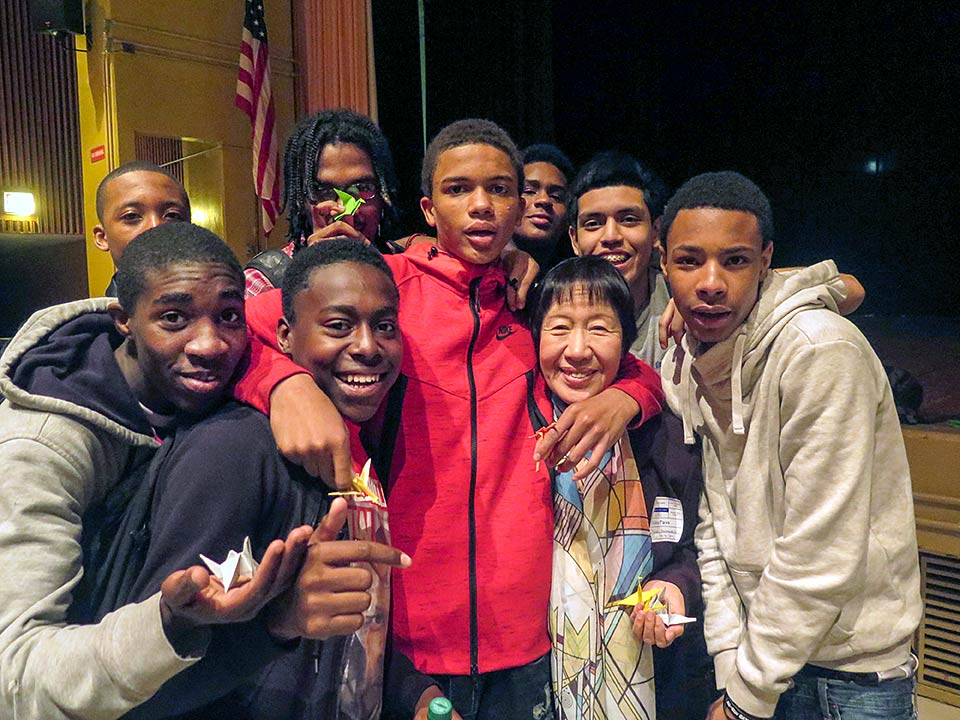 Toshiko Tanaka & Martin Luther King HS students