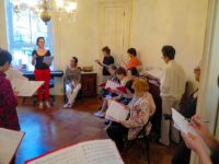 Himawari Hibakusha Choir & Jean Rohe rehearsing at Dupuy's Landing