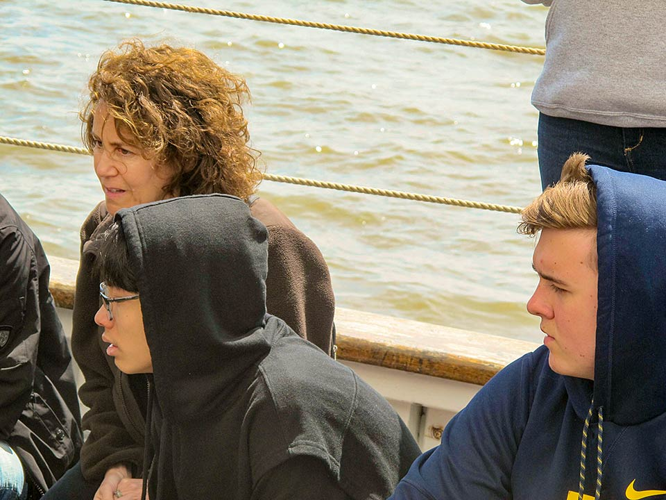 Andrea Lowenkopf on the Clearwater Sloop